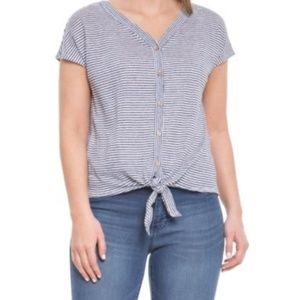 Rachel Zoe | Button Down Tie Front Linen Crop Top